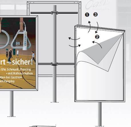 Plakatständer mit Alu-Wechselrahmen für öffentliche Infos