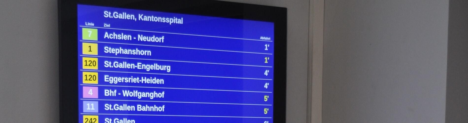 Abfahrtsmonitor für Kantonsspital St. Gallen